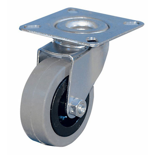 Mini swivel castors with rubber wheel with plain bearing