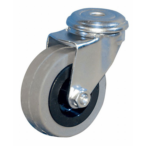 Mini swivel castors, bolt hole, with rubber wheel with plain bearing