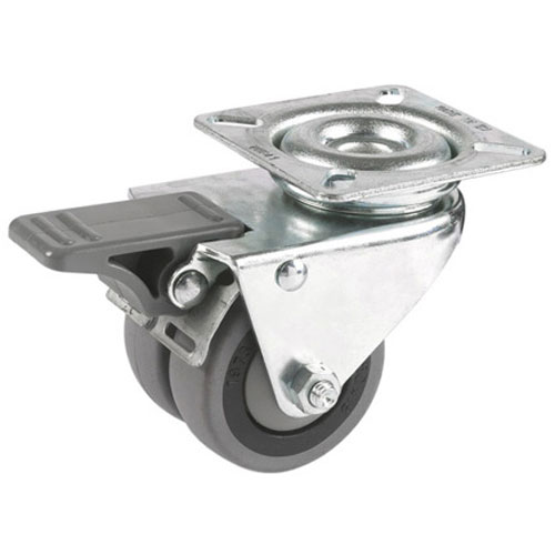 Double swivel castors with total brake, with rubber wheel and ball bearing