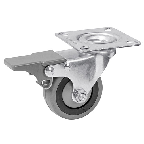 Equipment swivel castors with total brake, with rubber wheels and ball bearing