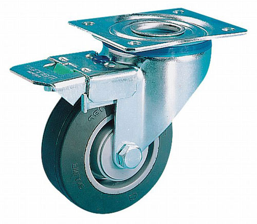 Laboratory swivel castors with total brake,highly elastic solid rubber wheels BB