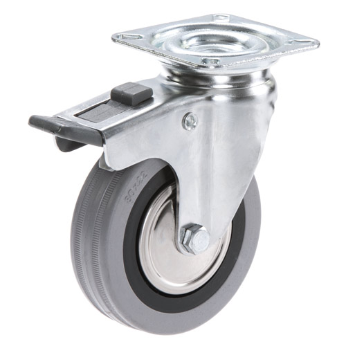 Swivel castors with total brake, with grey rubber wheels and plain bearing