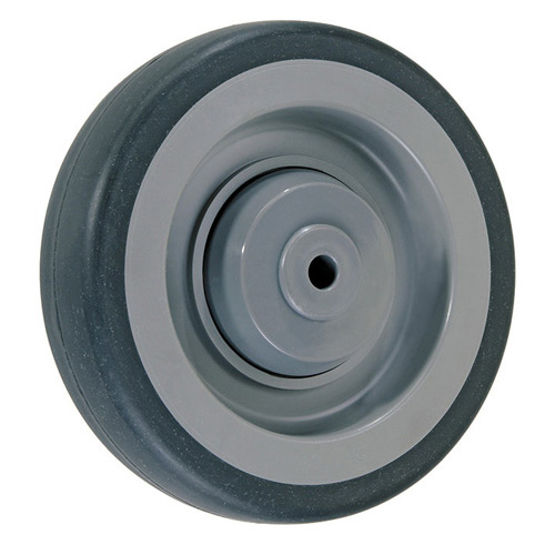 Shopping cart wheels Ø 125 mm, tread grey solid rubber, polyamide rim + BB