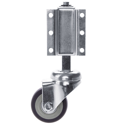 Spring loaded swivel castor for ladders, rubber wheel with ball bearing