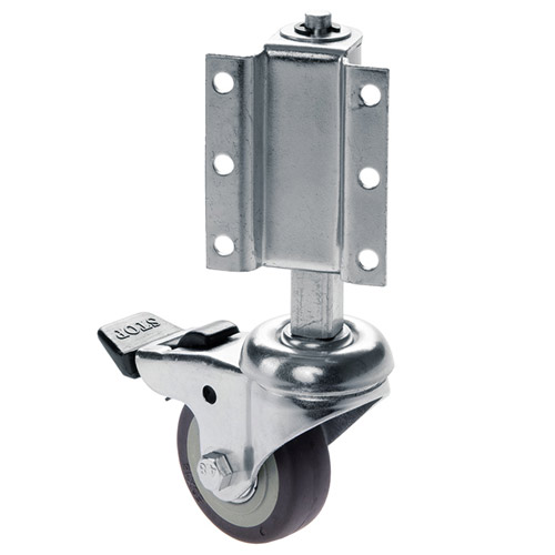 Spring loaded swivel castor for ladders with total lock, ball bearing