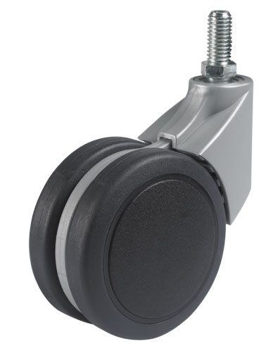 Design swivel castor with threaded pin, SOFT tread