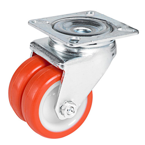 Double swivel castors with polyurethane wheel and plain bearing