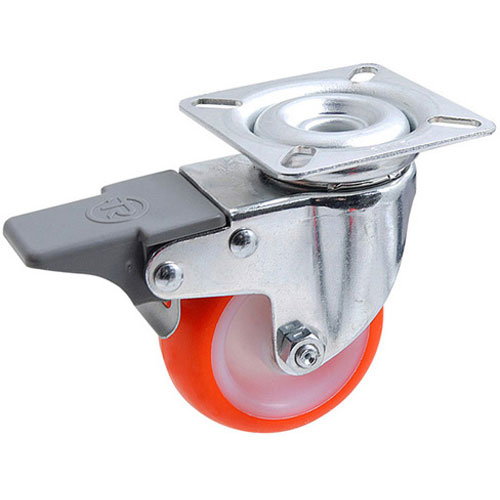 Swivel castors with total brake, with polyurethane wheels and plain bearing