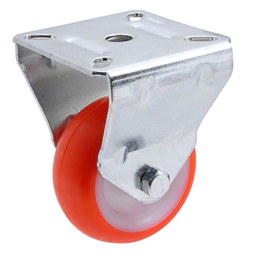 Fixed castors with polyurethane wheels and plain bearing