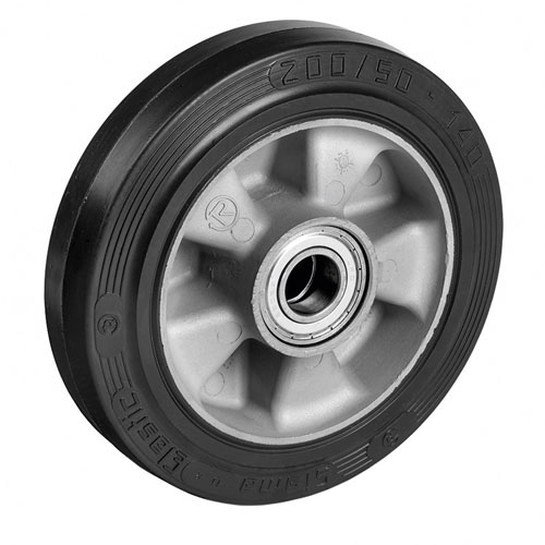 Elastic solid rubber wheels, aluminium rim with precision ball bearing
