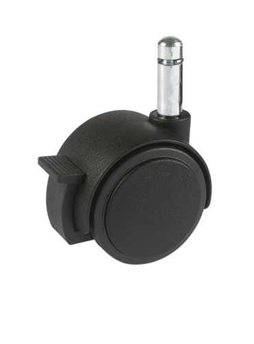 Furniture swivel castor with clamping pin and brake, SOFT or HARD tread