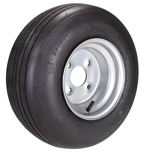 Pneumatic wheels, groove type tread + flange sheet steel rim (app.-20 km/h)