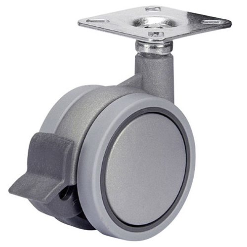 SWIFT swivel castors with single action brake, plate and plain bearing