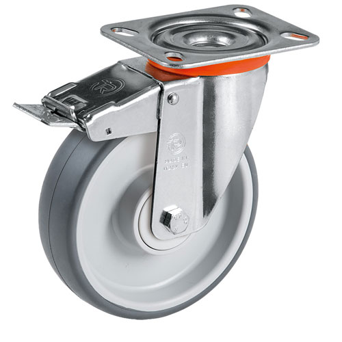 Easy-Roll grey swivel castors with total brake, TPE rubber and ball bearing