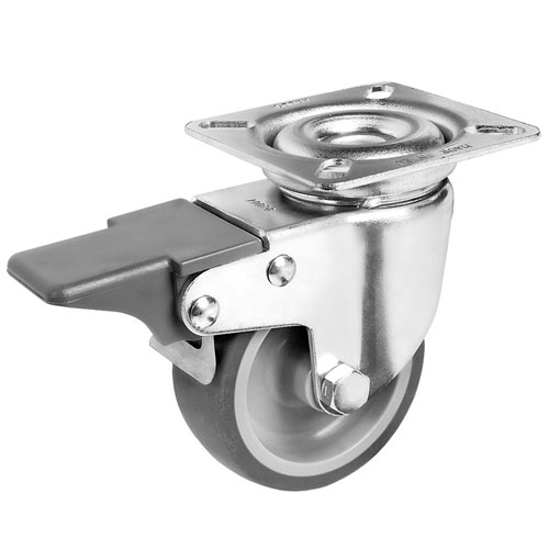 Picobelle swivel castors with total brake, TPE wheels and plain bearing