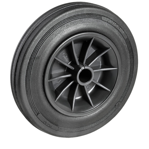 Solid rubber wheel with sheet steel rim and plain bearing - Ø 80 - 250 mm
