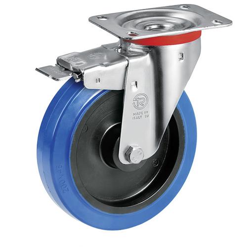 Roulette caoutchouc noir super /élastique corps aluminium pivotante /à frein diam/ètre 160 mm fixation /à platine