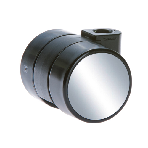 Furniture castors with chrome look, HARD tread - Fixing order separately!