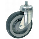 Shopping cart swivel castor, bolt hole with stem, rubber wheel and ball bearing