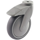 TANGO swivel castors, bolt hole, total brake, therm. rubber wheels +Ball bearing