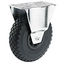 Fixed castors with wheels with puncture proof tyres, synthetic rim + roller bear