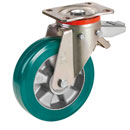 Swivel castors w. total brake,SUPERSOFT-polyurethane wheels and ball bearing