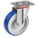 Soft-Blue Swivel castors with polyurethane wheels and ball bearing
