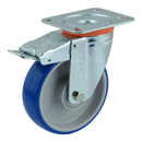 Soft-Blue Swivel castors with DIRECTIONAL lock with polyurethane wheels