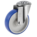 Soft-Blue Swivel castors, bolt hole, with polyurethane wheels and ball bearing