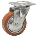 INOX Swivel castors, HEAT-Resistant silicone rubber wheels, ball bearing  250°C