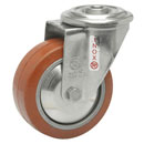 INOX Swivel castors bolt hole, HEAT-Resistant silicone wheels,  BB 250°C