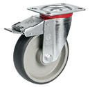 Swivel castors with DIRECTIONAL lock, with thermoplastic wheels
