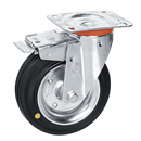 Swivel castors with total brake, Anti-Static solid rubber wheels+roller bearing