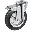 Swivel castors bolt hole, total brake, with solid rubber wheels, roller bearing