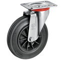 Swivel castors with solid rubber wheels and plain bearing