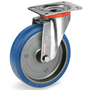 INOX castors with elastic rubber wheels Ø100-200 mm