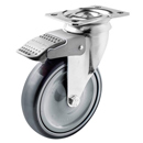 Hospital swivel castors with total brake. polyurethane wheels and ball bearing
