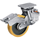 Spring-loaded heavy duty swivel castor with total brake, cast polyurethane