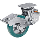 Spring-loaded heavy duty swivel castor with total brake, supersoft polyurethane