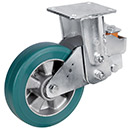Spring-loaded heavy duty fixed castors with supersoft polyurethane wheel