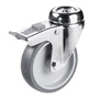 Swivel castor, bolt hole with total brake and