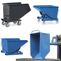 Dump trucks and tipping containers